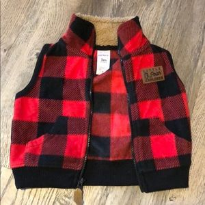 Buffalo red plaid carters vest 3 month